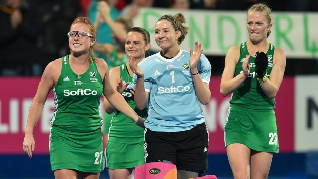 Grace O'Flanagan (centre) and here team-mates applaud the Irish fans after the England game. Photograph: Joe Toth/Inpho
