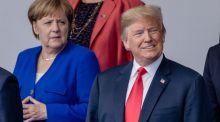 Angela Merkel and  Donald Trump at a Nato  summit  in Brussels on  July 11th.  Many are asking why has Germany become the president's public enemy number one? Photograph: Bloomberg