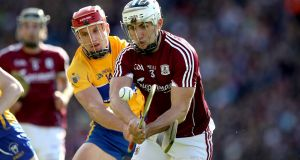 Clare's John Conlon and Galway's Daithí Burke fought out a fascinating personal duel in last Saturday's riveting All-Ireland hurling semi-final at Croke Park. Photograph: Ryan Byrne/Inpho