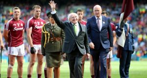 President Michael D Higgins acknowledges the crowd at Croke Park last weekend. Photograph: Tommy Dickson/Inpho