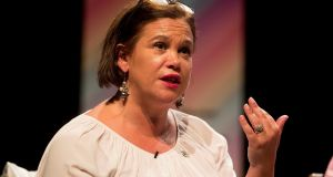 Mary Lou McDonald: she said that if there was to be a hard Brexit next year the British government would have to hold a Border poll.  Photograph: PA Wire