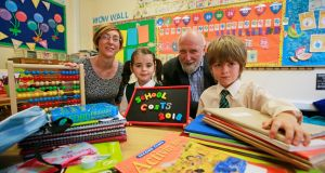 June Tinsley, Barnardos; Daisy O'Connor (6); Fergus Finlay, Barnardos chief executive and Patrick Regan (6). Photograph: Nick Bradshaw