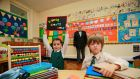 Pictured (from left) Daisy O'Connor (6); Fergus Finlay, Barnardos CEO and  Patrick Regan (6). Photograph: Nick Bradshaw