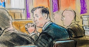 Former Trump campaign manager Paul Manafort is shown in a court room sketch. Photograph: Bill Hennessy/Reuters