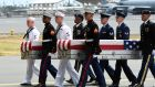 The remains of American servicemen from the Korean War arrive at Joint Base Pearl Harbor-Hickam in Honolulu, Hawaii. Photograph: Hugh Gentry/Reuters