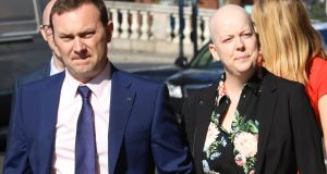 Paul and Ruth Morrissey pictured at the Four Courts last week where she is taking a legal action over the alleged misreading of her cervical smear tests. Photograph:  Collins Courts.