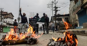 Protesters in Srinagar, India, in the state of Kashmir, pictured in February 2018. Photograph: Atul Loke/New York Times