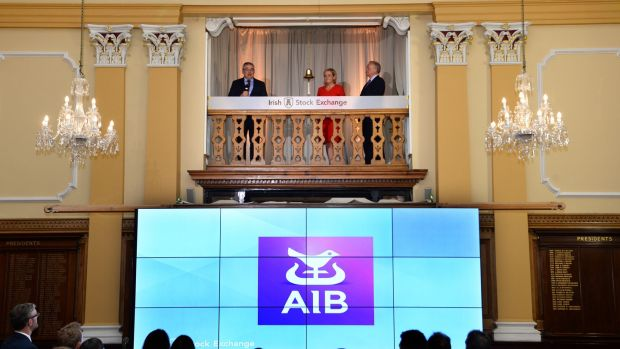 AIB CEO Bernard Byrne rings the bell at the Irish Stock Exchange with Irish Stock Exchange CEO Deirdre Somers and AIB chairman Richard Pym in June 2017. Photograph: Dara Mac Dónaill