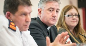 Supt Tom Calvey, Fr Richard Gibbons and Brenda Drumm in Knock, Co Mayo for a media briefing before the papal visit. Photograph: Keith Heneghan