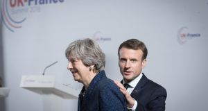 "British prime minister Theresa May and French president Emmanuel Macron. ""I imagine Macron will tell Theresa May 'we will be as constructive as we can, but Monsieur Barnier will tell you our position',"" said a European diplomat"