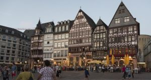 Römerberg square in Frankfurt, where reconstructed medieval houses and buildings complementary to the historical streetscape replaced a 1970s block. Photograph: Horacio Villalobos/Corbis via Getty Images