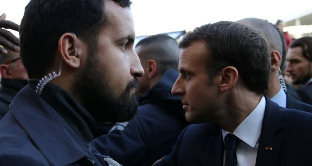 Élysée senior security officer Alexandre Benalla stands next to French president Emmanuel Macron during a visit to the Paris International Agricultural Show (Salon de l'Agriculture) in February. File photograph: Stephane Mahe/Reuters
