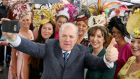 Irish presidential candidate Gavin Duffy amongst the fashion on Ladies Day during day four of the Galway Festival. Photograph: Brian Lawless/PA Wire