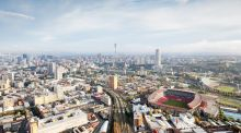 Skyline of Johannesburg with Ellis park stadium, Gauteng Province, South Africa.