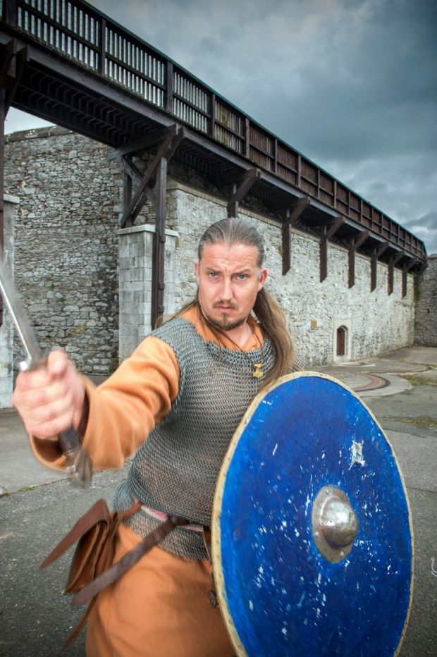 Trevor Mc Carthy works as a Viking at Kilmallock Castle, Co. Limerick. Photograph: Michael Mac Sweeney/Provision