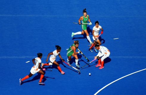 Ireland's Nicola Evans in action during her side's tense quarter-final win over India. Photograph:  Steven Paston/PA Wire