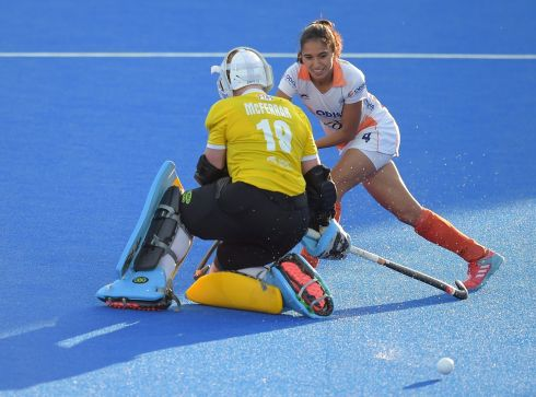 Ayeisha McFerran makes a save from India's Monika during the penalty shootout. Photograph: Joe Toth/Inpho