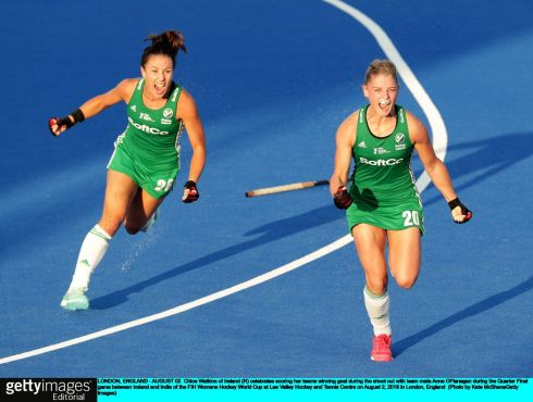 Chloe Watkins (R) celebrates scoring Ireland's winning penalty with Anna O'Flanagan. Photograph:  Kate McShane/Getty
