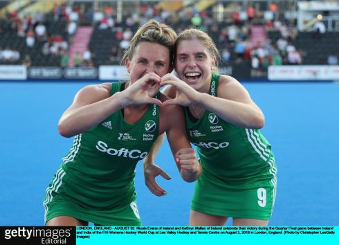 Nicola Evans and Kathryn Mullan celebrate Ireland's victory. Photograph: Christopher Lee/Getty