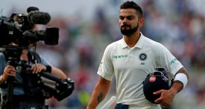 India's captain Virat Kohli walks off the pitch at the end of play during the third day of the First Test against England at Edgbaston in Birmingham. Photograph: Adrian Dennis/AFP/Getty