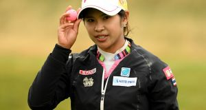 Pornanong Phatlum of Thailand during the second round of the Ricoh Women's British Open at Royal Lytham & St Annes on August 3rd. Photograph:  Ross Kinnaird/Getty