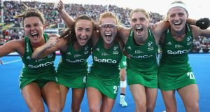 Ireland hockey players Nicola Evans, Yvonne O'Byrne,  Zoe Wilson, Katie Mullan and Hannah Matthews celebrating their quarter-final win over India on Thursday. Photograph: Christopher Lee/Getty Images