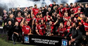 The Crusaders celebrate their Super Rugby final win over South Africa's Lions. Photograph: Marty Melville/AFP/Getty