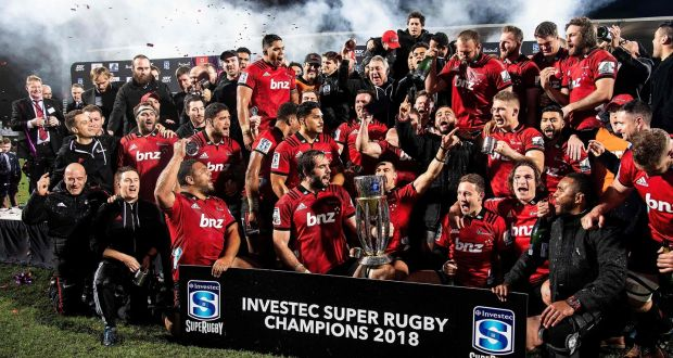 a56d781f306 The Crusaders celebrate their Super Rugby final win over South Africa's  Lions. Photograph: Marty