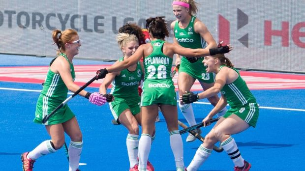 Ireland celebrate after Anna O'Flanagan's early goal against Spain. Photograph: Sandra Mailer/Inpho