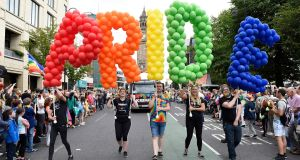 People taking part in the Belfast Pride parade setting off from Custom House Square in central Belfast. Photograph:  Michael Cooper/PA Wire