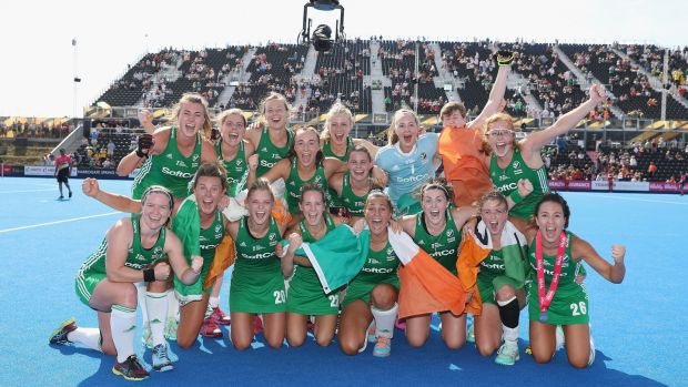 Ireland women celebrate after their World Cup semi-final win over Spain. Photograph: Christopher Lee/Getty
