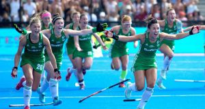 Ireland celebrate their penalty shoot-out  win over Spain in London. Photograph: Sandra Mailer/Inpho