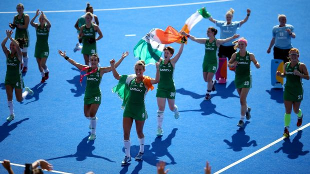 Ireland's women after their victory over Spain. Photograph: Steven Paston/PA Wire