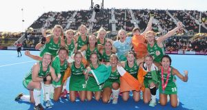 Ireland celebrate their World Cup semi-final win over Spain in London. Photograph: Christopher Lee/Getty
