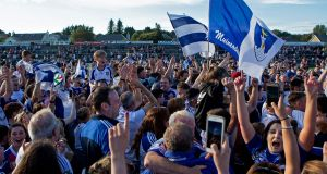 Monaghan fans celebrate reaching the All-Ireland semi-final. Photograph: Laszlo Geczo/Inpho