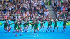 Ireland celebrate winning the penality shoot-out against Spain in the semifinal of the hockey World Cup at Lee Valley Stadium, London. Photograph: INPHO/Sandra Mailer