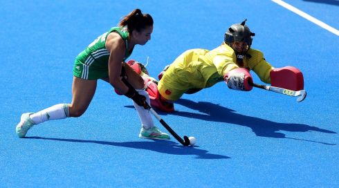 Ireland's Anna O'Flanagan in action during the shootout. Photograph: Steven Paston/PA Wire