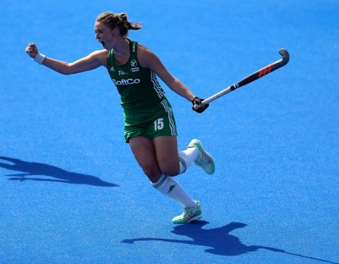 Ireland's Gillian Pinder celebrates scoring the winning goal in sudden death of the shootout. Photograph: Steven Paston/PA Wire