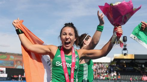 Anna O'Flanagan celebrates Ireland's victory over Spain. Photograph: Christopher Lee/Getty Images