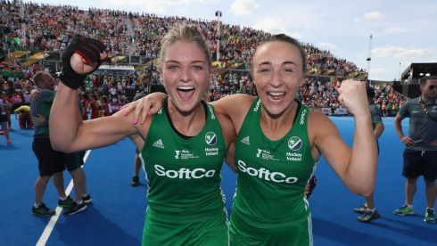 Chloe Watkins and Yvonne O'Byrne of Ireland celebrate. Photograph: Christopher Lee/Getty Images
