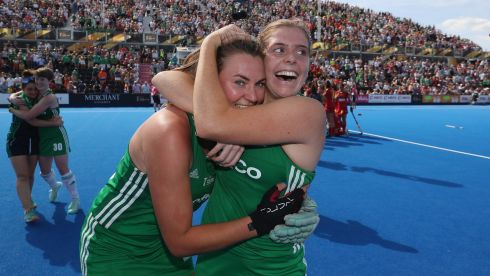 Nikki Evans of Ireland and Kathryn Mullan of Ireland after the match. Photograph: Christopher Lee/Getty Images
