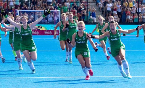 Ireland's Roisin Upton, Chloe Watkins and Anna O'Flanagan after winning the shoot-out. Photograph: INPHO/Sandra Mailer