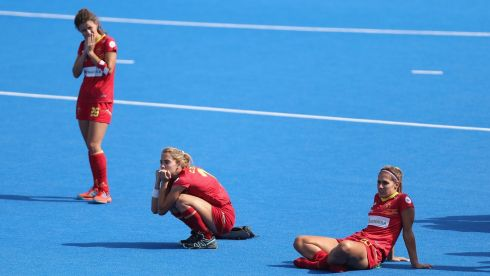 Spanish players Cristina Guinea, Lucia Jimenez and Xantal Gine of Spain are left dejected. Photograph: Christopher Lee/Getty Images