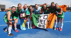 Róisín Upton, Kathryn Mullan, Ayeisha McFerran, Anna O'Flanagan, Grace O'Flanagan, Yvonne O'Byrne, Nicola Evans and Chloe Watkins of Ireland celebrate their victory during the semi-final game between Ireland and Spain of the Womens Hockey World Cup on Saturday. Photograph: Christopher Lee/Getty Images