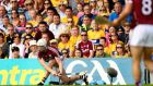 Galway's Joe Canning scores a late sideline cut in the All-Ireland SHC semi-final replay at Semple Stadium in Thurles. Photograph: James Crombie/Inpho