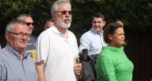 Former Sinn Féin leader Gerry Adams (centre) with Sinn Féin president Mary Lou McDonald during the 37th National Hunger Strike Commemoration in Castlewellan, Co Down. Photograph: Niall Carson/PA Wire
