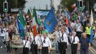 Sinn Féin president Mary Lou McDonald (at centre in green top) in procession during the 37th National Hunger Strike Commemoration in Castlewellan, Co Down, on Sunday. Photograph: Niall Carson/PA Wire