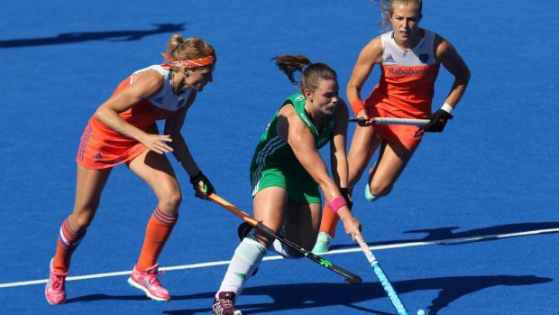 Ireland's Lizzie Colvin in action during during the final of the FIH Women's Hockey World Cup against the Netherlands at Lee Valley Hockey and Tennis Centre. Photograph: Sean Dempsey/EPA