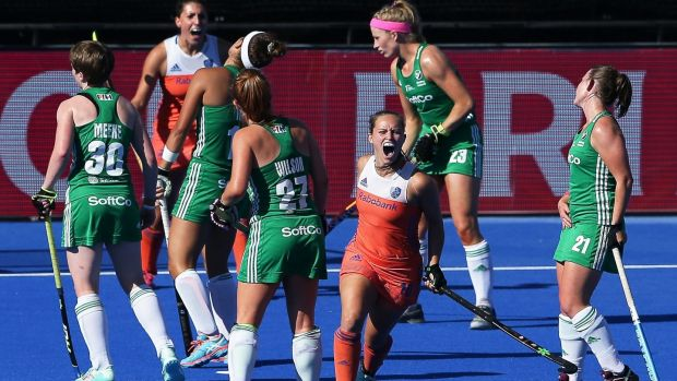 Kelly Jonker of the Netherlands celebrates scoring their second goal against Ireland during the final of the FIH Women's Hockey World Cup at Lee Valley Hockey and Tennis Centre. Photograph: Daniel Leal-Olivas/AFP/Getty Images