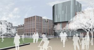 The Sixth: computer-generated image shows planned view of the new Belfast office development from Cathedral Gardens.
